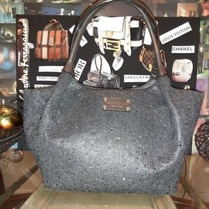 KATE SPADE Bridgette charcoal frosted felt satchel